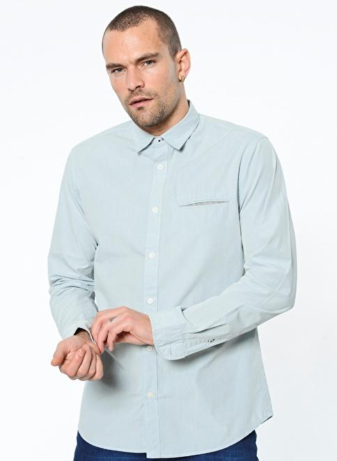 Selected Desenli Uzun Kollu Gömlek Mavi